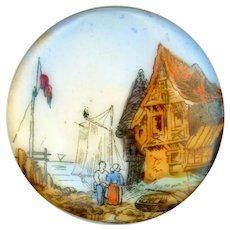 Button--Large Mid-19th C. Sea Side--Hand Painted Transfer on Soft Paste Porcelain
