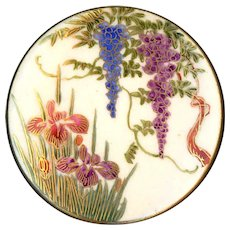 Button--Extra Large Vintage Japanese Satsuma Wisteria & Irises--Gold Edge