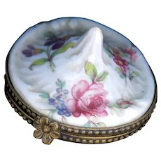 Little Box--French Hand Painted Transfer on Porcelain Ring Holder and Compartment