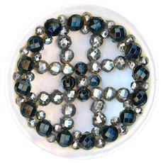 Button--Large Mid-19th C. Cut Steel and Press Faceted Black Glass Riveted on Pearl