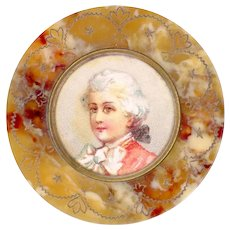 "Button--Large Late 19th C. ""Praline"" Celluloid Border and Chromolithograph Mozart Under Celluloid"