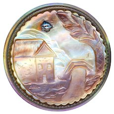 Button--Mid-19th C. Golden Cameo Pearl Rustic Scene in Vivid Rainbow Pearl
