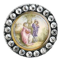 Button--Large Early 19th C. Hand Painted Figures Under Glass in Paste