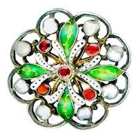 Button--Large Austro-Hungarian Hand Pierced Sterling Silver, Garnets, Pearl, & Enamel