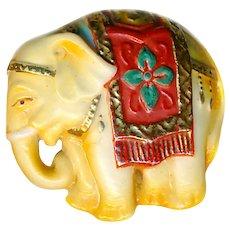 Button--Vintage 20th C. Toshikane Arita Porcelain Elephant--Medium Size