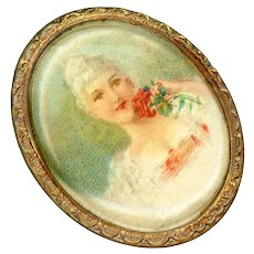 Button--Early 20th C. Oval Plasticized Paper Lithograph of Rose Lady in Brass