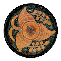 Button--Large 19th C. Black Glass with Faux Bois (Fake Wood) Enamel Finish