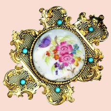 Ladies Buckle--Piel Freres Porcelain, Turquoise Glass, and Rococo Brass Screen