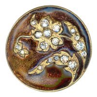 Button--Late 19th C. Ombrant Brown Enamel Flower with Rhinestones in Brass