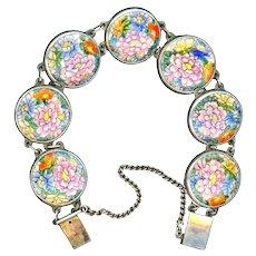 Bracelet--Vintage Japanese Satsuma Pottery Chrysanthemums in Sterling Silver