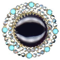 Button--Mid-19th C. Riveted Turquoise Glass and Cut Steel Rimmed Black Glass
