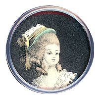 Button--Large 18th C. Georgian Tinted Engraving of Lovely Young Lady Under Glass