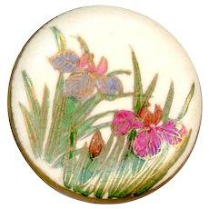 Button--Large Vintage Japanese Satsuma Irises