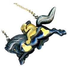 Necklace--19th C. Japanese Mixed Metal Silver and Gold Monkey on Runaway Horse
