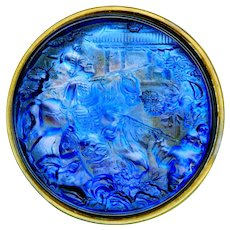 Button--Scarce Late 19th C. Extra Large Blue Glass Genghis Khan in Brass