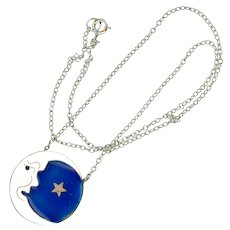 Necklace--Modern Cloisonne Enamel Man in the Moon with Star on Sterling Chain