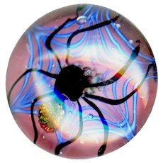 Button--Large Artisan Modern Lamp Work Glass Paperweight Spider in Web