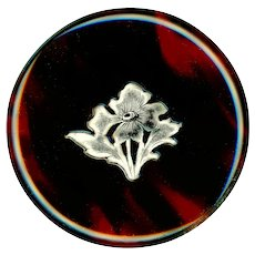 Button--Very Large Late 19th C. Natural Plastic with Silver Inlay Iris