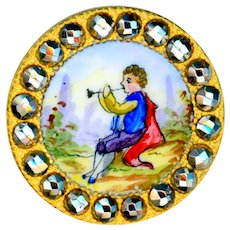 Button--Late 19th C. Figural Enamel Boy with Horn in Cut Steels