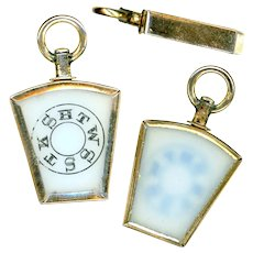 Watch Fob--Fraternal Chalcedony in Gold=plated Brass