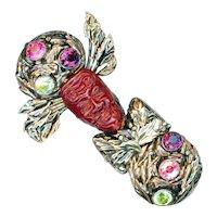 Brooch--Large Vintage Hobe Jeweled Sterling Silver Gold & Red Bandora Mask