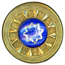 Button--Large Mid-19th C. Glass in Brass Victorian Jewel 8-point Star Radiant