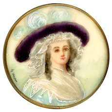 Button--Large Late 19th C. Hand Painted Portrait of Woman Under Glass
