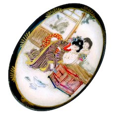 Brooch--Large Late 19th C. Satsuma Pottery Mother, Child, and Caged Bird