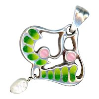 Pendant--Modern Large Plique-a-jour Enamel and Baroque Pearl in Silver