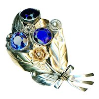 Brooch--Large Vintage Hobe FLora-foliate with Blue Glass Jewels