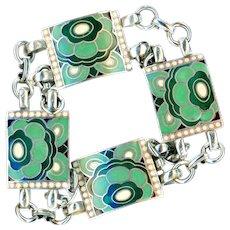 Bracelet--Vintage Art Deco Made in France Cloisonne Enamel Floral