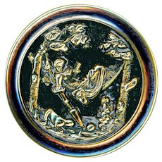 Button--Large Late 19th C. Lady in Hammock with Cat (and Monkey I Swear)