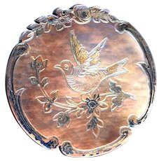 Button--Mid-19th C. Rococo Engraved Iridescent Pearl Bird