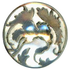 Button--Late 19th C. Art & Crafts Thistles or Carnations over Pearl in Silver