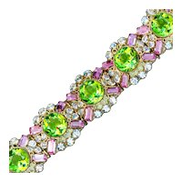 Bracelet--Jewels of Legendary Splendor Hobe Silver Vermeil and Cut Glass Stones