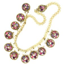 Necklace--Vintage 1940s Purple and Pink Rhinestones in Gold-plated Filigree Brass