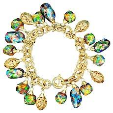 Bracelet--Vintage Signed Napier Art Glass (Gemmato) and Filigree Beads