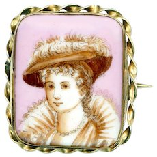Brooch--Mid-19th C. Sepia Detailed Transfer Ruffed Lady on Pink Porcelain in Gold-plated Brass