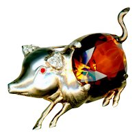 Brooch--Large Scarce 1940s Reja Sterling Vermeil Pig with Faux Topaz