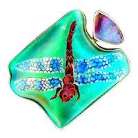 Pendant--Very Fine Artisan Cloisonne Enamel and Dark Opal Dragonfly on Sterling Silver
