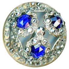 Button--Large Late 19th C. Silver-plated Glass Jewels and Brilliant Cut Steels