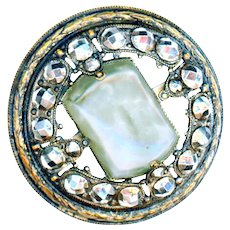Button--Large Late 19th C. Gay Nineties Art Glass Jewel in Cut Steel