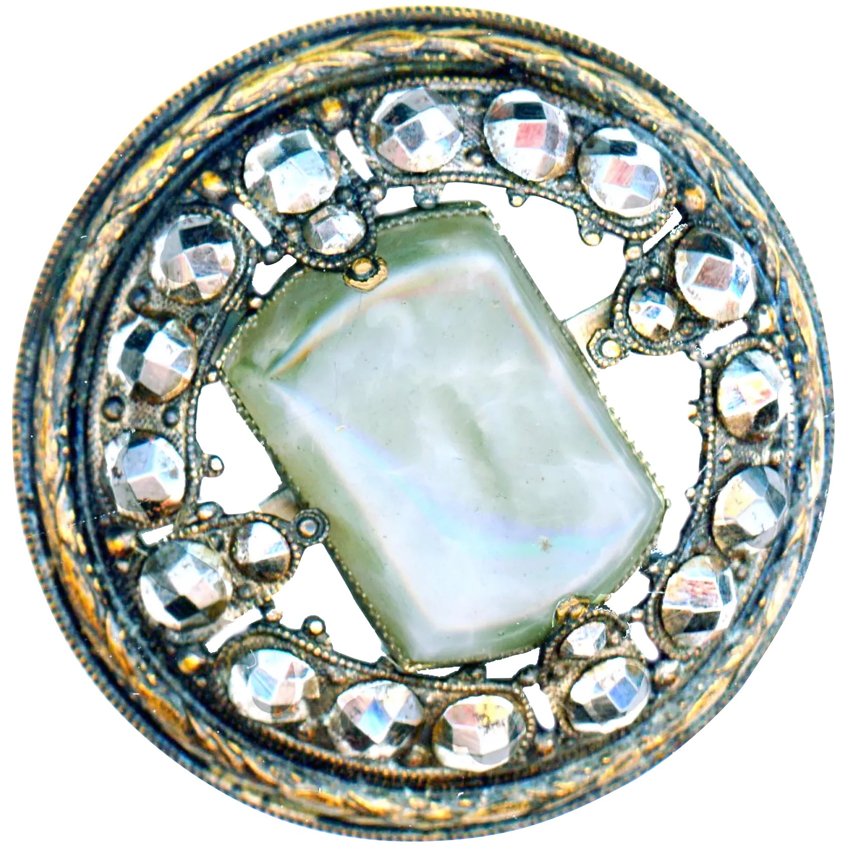 1-38 Gay 90/'sJewel Button with Turquoise Blue Center B-55