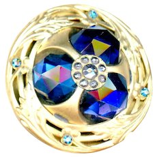 Button--Extra Large Vintage Trefoil Deep Blue Glass Jewels in Brass