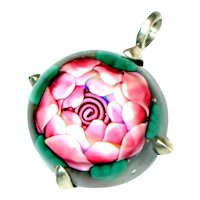 Pendant--Modern Lamp Work Glass Paperweight Clichy Rose in Sterling Silver