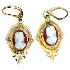 Earrings/Pins--Mid-19th C. Stone Cameos & Seed Pearls--Gold Tops