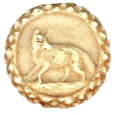 Button--Early 19th C. Hand Carved Bone or Stag Horn Sporting Fox