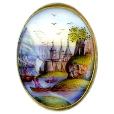 Button--Mid-19th C. Hand Painted Oval Porcelain Medieval Landscape
