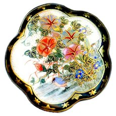 Button--Large Late 19th C. Satsuma Petunias and Blue Bird in Stars