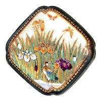 Button--Late 19th C. Modified Square Satsuma Pottery Iris Marsh Bird & Bugs in Silver Alloy